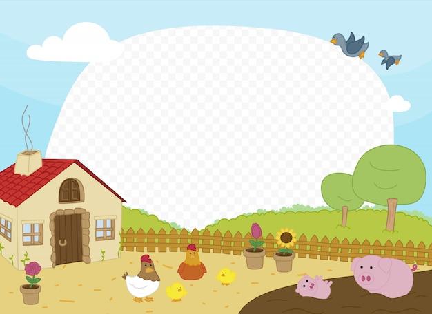 Ramka ze sceną na farmie