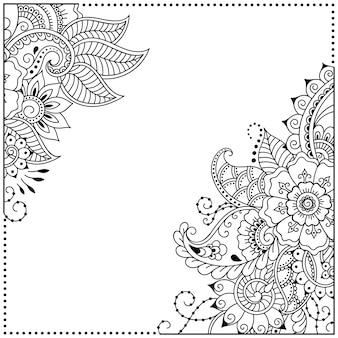 Ramka ze stylizowanym kwiatem w stylu mehndi.