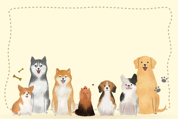 Ramka ze zwierzętami doodle