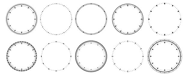 Ramka zegarów w stylu vintage, sekundnik i okrągła skala 12-godzinnego zegarka.