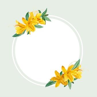 Ramka żółty rododendron