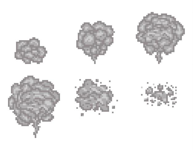 Ramki animacji dymu pikselowego do gry. pikselowy dym z gry, dym w chmurze, pikselowa ilustracja dymu animacji wideo