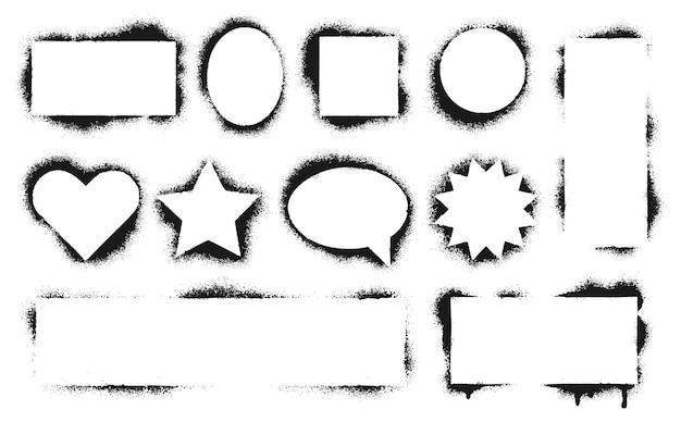 Ramki do szablonów. brudne obramowanie tekstury, czarny grunge farby, kształt dekoracji atrament pieczątka serce i gwiazda. ilustracja wektorowa