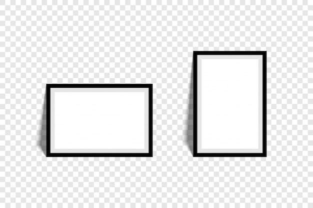 Ramki do zdjęć. kolekcja ramki do zdjęć, na białym tle. szablon ramki na zdjęcia różne kształty. przezroczyste tło. ilustracja