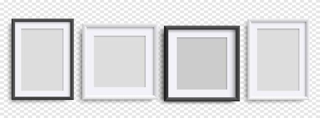Ramki do zdjęć na białym tle realistyczne czarno białe ramki ustawione