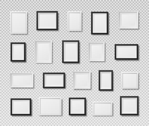 Ramki do zdjęć na białym tle realistyczne kwadratowe czarne ramki wektor zestaw