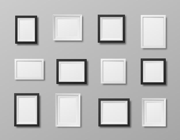 Ramki do zdjęć na białym tle realistyczne kwadratowe czarno-białe ramki wektor zestaw