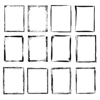 Ramki grunge. scratchy naszkicowana ilustracja szorstki obramowanie ramki, szkic tekstury