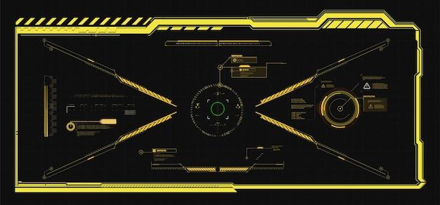 Ramki hud. futurystyczne, nowoczesne elementy interfejsu użytkownika, panel sterowania hud. ekran z cyfrowym hologramem high-tech. sci-fi futurystyczny pulpit nawigacyjny. technologia rzeczywistości witrualnej. ilustracji wektorowych