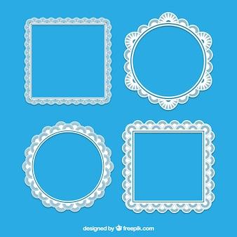 Ramki koronkowe kwadratowe i okrągłe