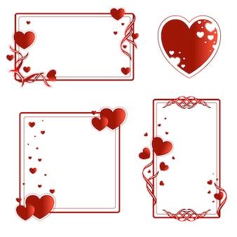 Ramki na walentynki z czerwonymi sercami.
