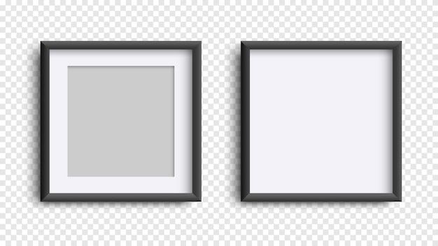 Ramki na zdjęcia na białym, realistyczne kwadratowe czarne ramki makieta, wektor zestaw