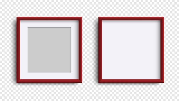 Ramki na zdjęcia na białym tle, realistyczne kwadratowe ciemnoczerwone ramki
