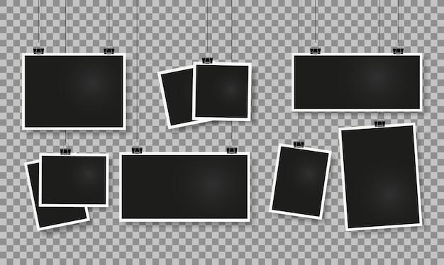 Ramki na zdjęcia na klipsach realistyczna makieta pustej ramki na zdjęcia