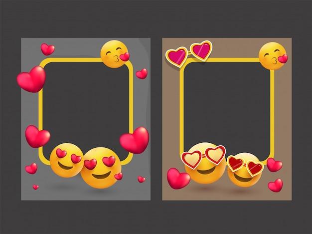 Ramki na zdjęcia ozdobione różnymi emoji i kształtami serca.