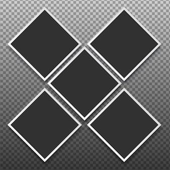 Ramki na zdjęcia ustawione na przezroczystym tle