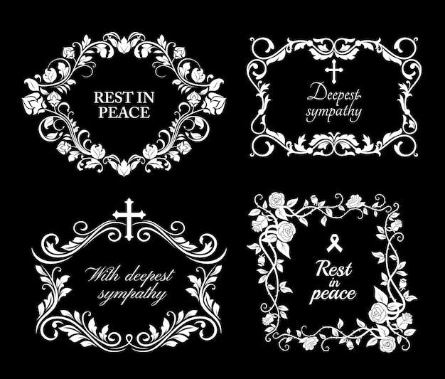 Ramki pogrzebowe, na białym tle wieńce kwiatowy wzór z kwiatów i liści. zestaw żałobnych pogrzebowych monochromatycznych obramowań nekrologu