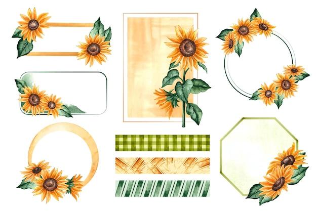 Ramki słonecznika i notatnik