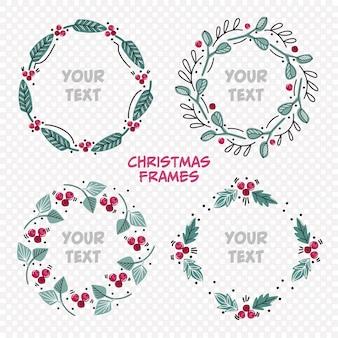 Ramki świąteczne ustawione na najlepsze życzenia. kwiatowe ramki