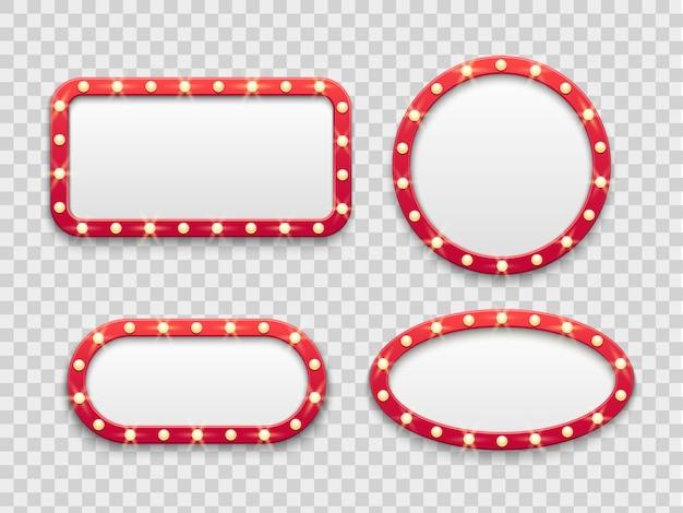 Ramki świetlne markizy. vintage okrągłe i prostokątne kino i kasyno puste czerwone znaki z żarówkami. zestaw