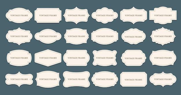 Ramki vintage etykiety. stare kształty ramek, ozdobna etykieta i kształt retro.