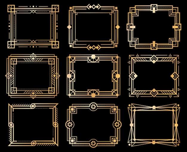 Ramki w stylu art deco. złote obramowanie ramki obrazu deco, złota linia geometrii. elementy luksusowej sztuki z lat 20. xx wieku. wektor izolowane streszczenie foka ornament projekt oprawione zestaw