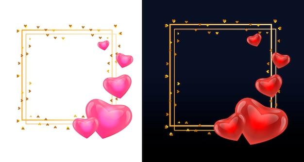 Ramki wianek z różowymi i czerwonymi sercami