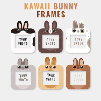 Ramki z cute bunny heads szablon