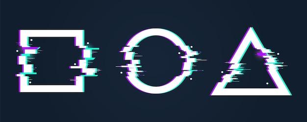 Ramki z efektami glitch. zniekształcony kształt koła. cyfrowy trójkąt łamany i kwadrat z wadą