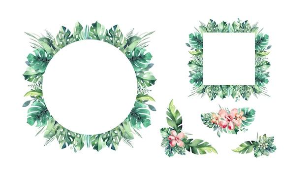Ramki z liści palmowych i kwiatów. tropikalna kartka z życzeniami.