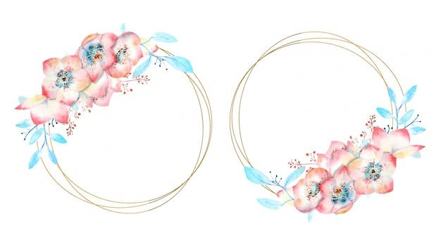 Ramki z różowe kwiaty na okrągłej ramce na białym tle.