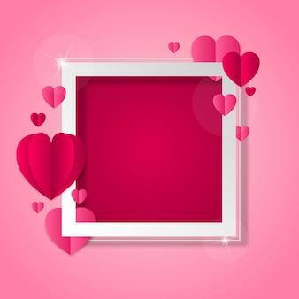 Ramki z serca na walentynki i motywu miłości
