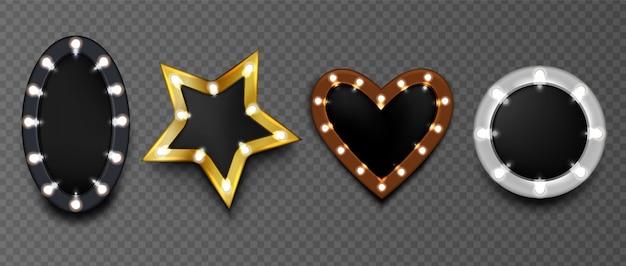Ramki z żarówkami na czarnej tablicy na białym tle. okrągłe lustro do makijażu w kształcie gwiazdy i serca