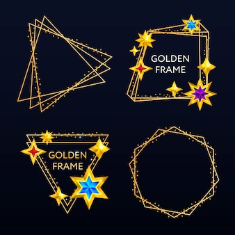 Ramki złote gwiazdy na tle