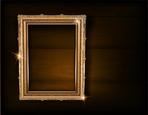 Ramowa drewniana fotografia na czarnej drewno ścianie