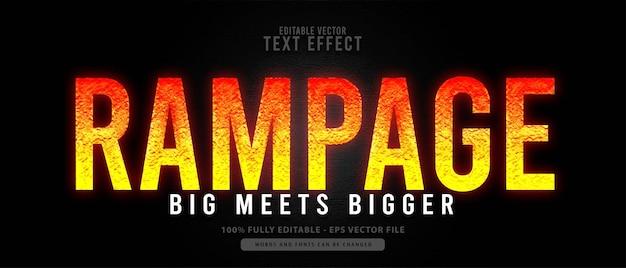 Rampage, pomarańczowy grunge edytowalny efekt tekstowy