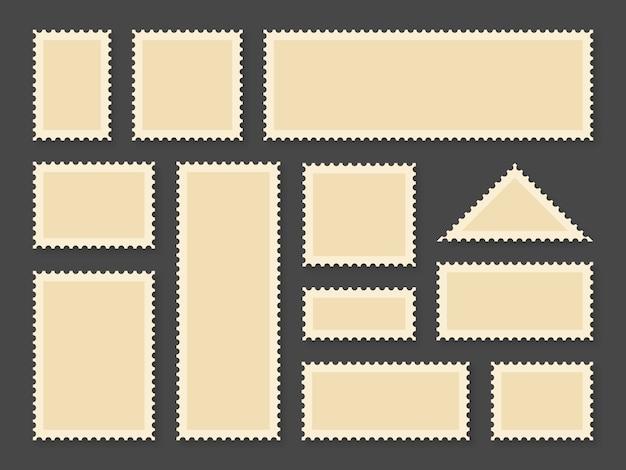 Ramy znaczków pocztowych. puste znaczki pocztowe w różnych rozmiarach dla pocztówki z papieru i koperty pocztowej, kolekcja