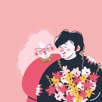 Randka zakochanych z bukietem kwiatów.