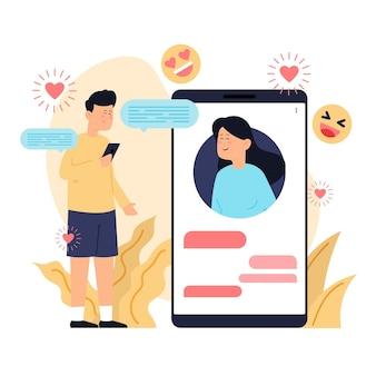 Randki aplikacji ilustracja koncepcja z mężczyzną i kobietą