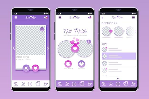 Randki interfejs aplikacji na ekranach telefonów komórkowych