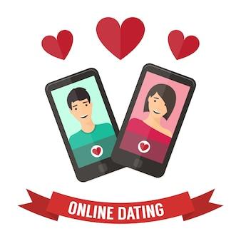 Randki internetowe, flirt i relacje online. usługa mobilna, aplikacja