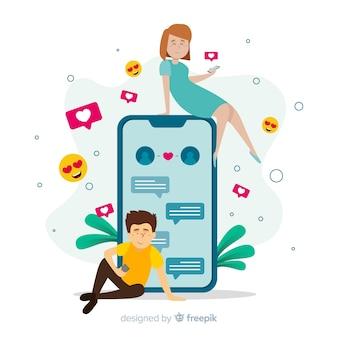 Randki koncepcja aplikacji z dziewczyną i chłopcem