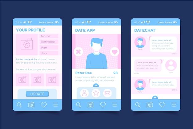 Randki koncepcja interfejsu aplikacji
