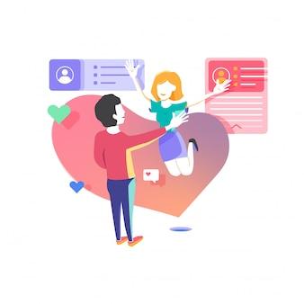 Randki online aplikacji ilustracji wektorowych