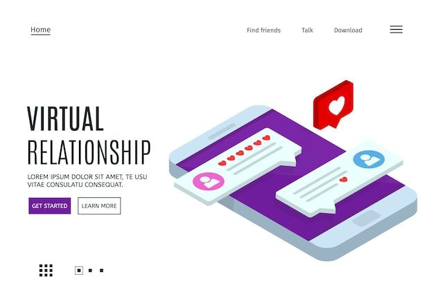 Randki online i koncepcja sieci społecznościowych. rozmawianie przez internet. szablon strony internetowej.