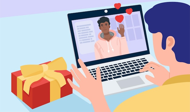 Randki online, para gejów prowadząca rozmowę wideo przez laptopa w domu.