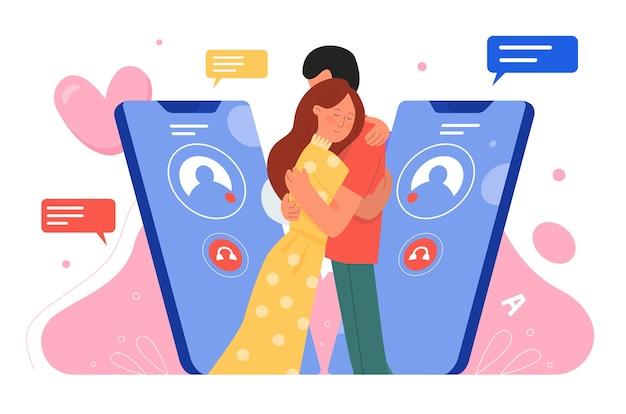 Randki przez telefon. szczęśliwa młoda para znaków stojących razem i przytulanie.