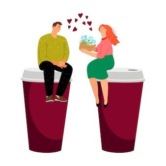 Randki przy kawie. zakochana para, zabierz filiżanki kawy. wektor męskich żeńskich kwiatów i napojów