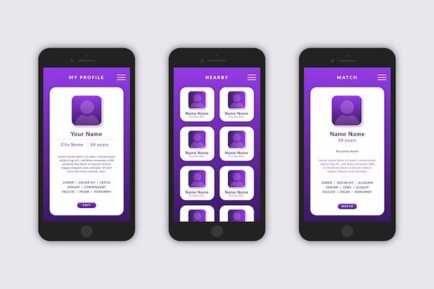 Randki szablon interfejsu aplikacji