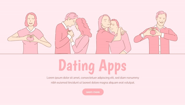 Randki szablon transparent aplikacji. romantyczna historia miłosna, koncepcja strony docelowej walentynki.